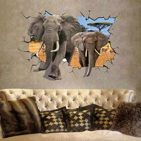 3d elephent wall decal sticker