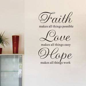 Faith love hope quote wall stickers