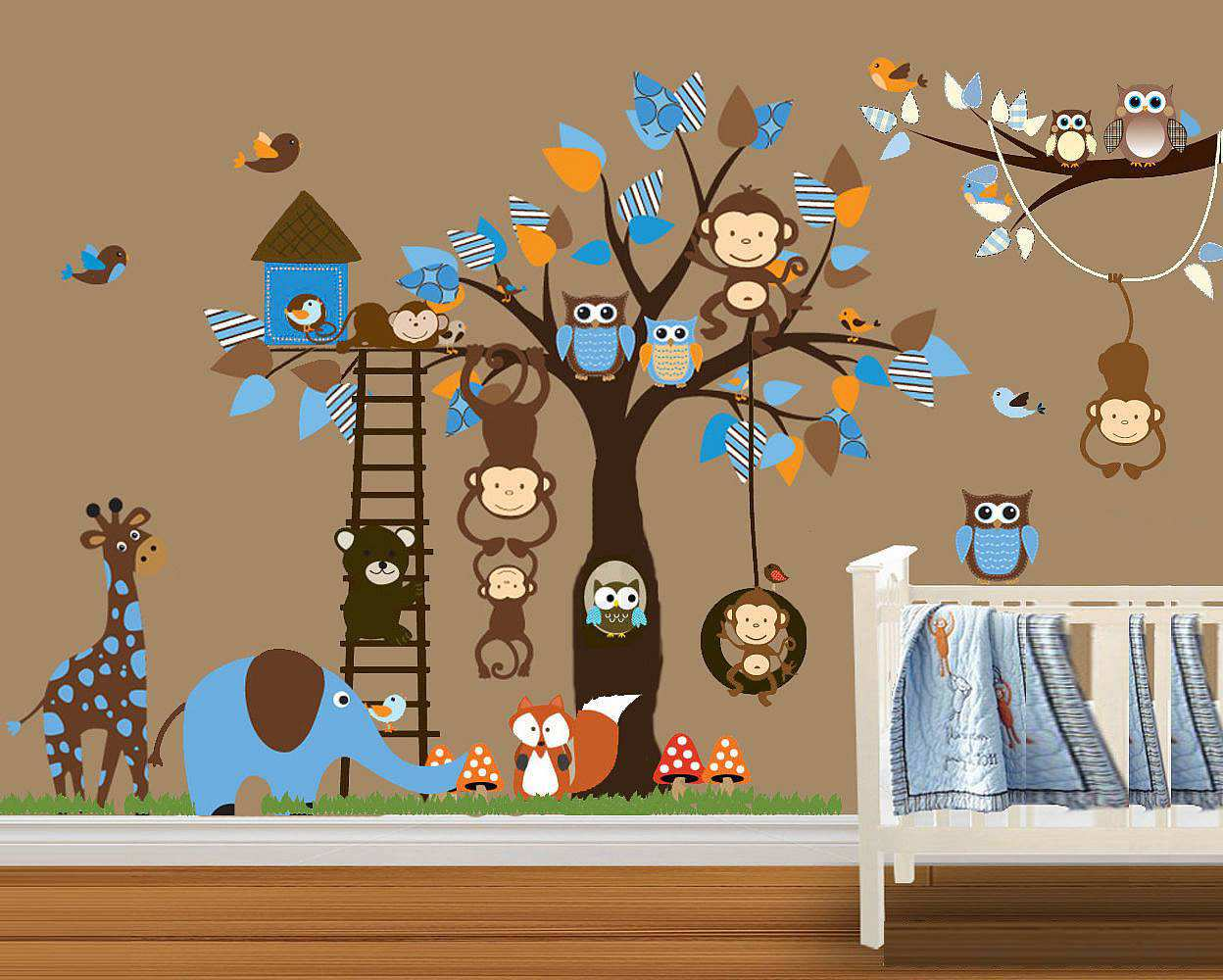 wall stickers nursery monkey color the walls of your house wall stickers nursery monkey owl monkey tree wall stickers decal boys room girls room nursery